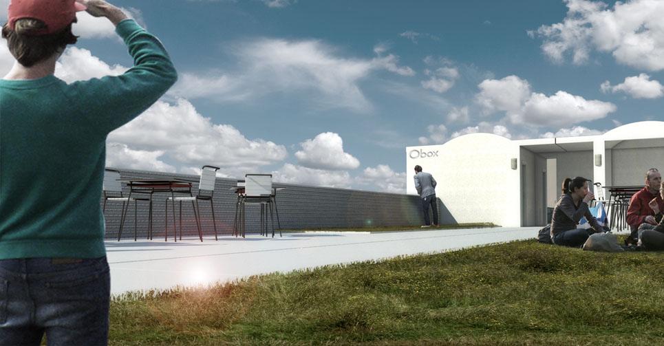 Proyecto construcción prefabricada - albergue - simulación terraza