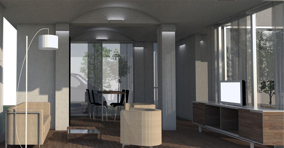 Construcción de casa prefabricada - detalle salón interior