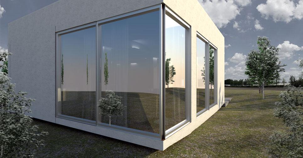 Construcción de casa prefabricada - vista exterior cristal
