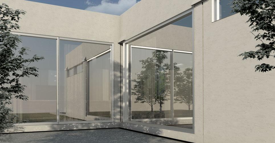 Construcción de casa prefabricada - detalle exterior cristal