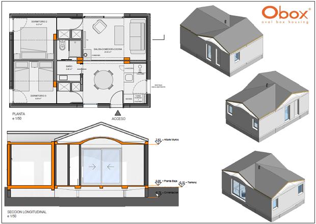 Casa prefabricada Obox 3 módulos