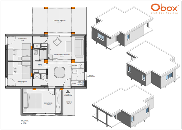 Obox prefabricated house 5 modules